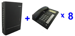 free shpping-PBX telephone system SV308( 3 Lines +8 Ext.) and 8pcs telephone set
