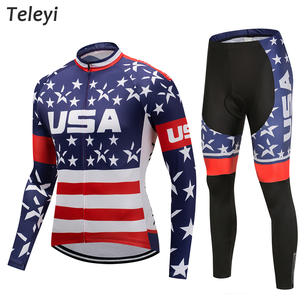 Pro Team Cycling USA Flag Star Long Sleeve Uniforms Set Ropa Ciclismo Jersey MTB Bike Shirts Pad Pants Set Cycling Wear Clothes