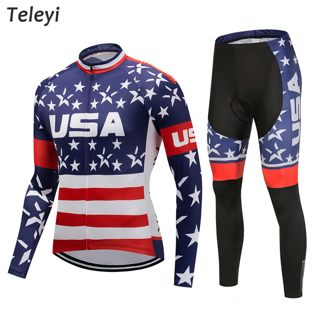 Pro Team Cycling USA Flag Star Long Sleeve Uniforms Set Ropa Ciclismo Jersey MTB Bike Shirts Pad Pants Set Cycling Wear Clothes