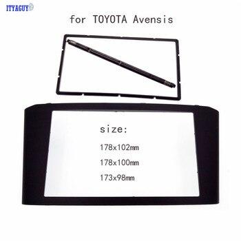 Toyota avensis fascia 패널 용 스테레오 페이스 플레이트 오디오 베젤 대시 마운트 키트 어댑터 트림 2din dvd 프레임