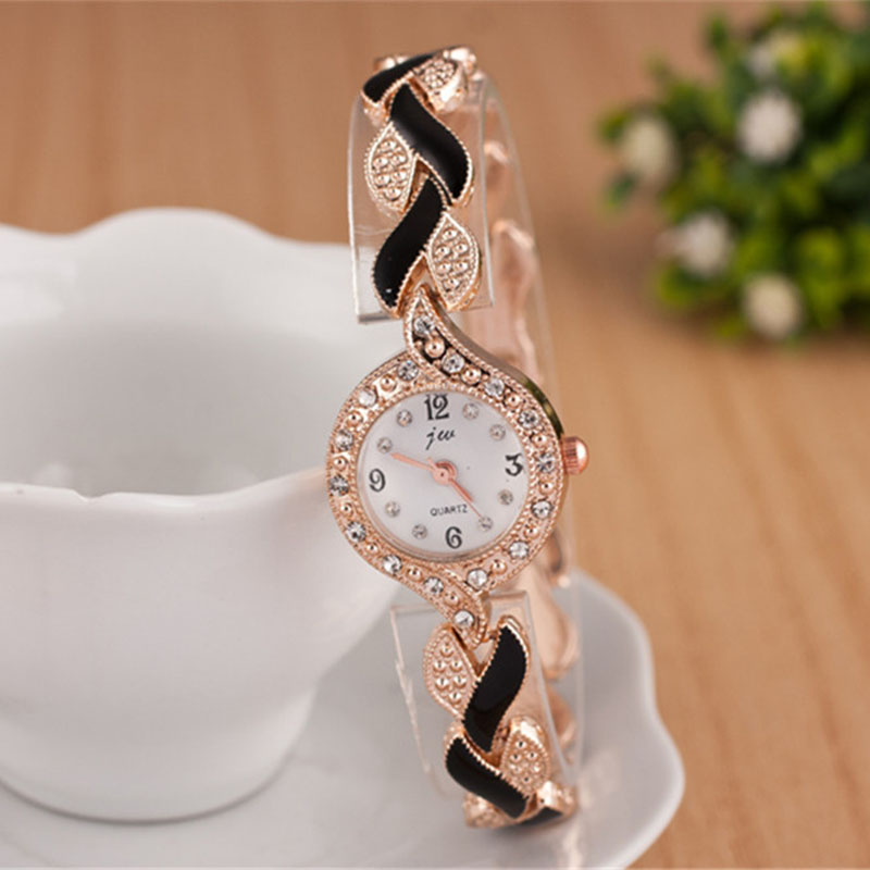 Luxury Rhinestone Bracelet Watch Ladies Rose Gold Watches Quartz Female Clock 2017 Relojes Mujer Golden Steel Wristwatch Women classic icon eiffel tower women crystals watches luxury rose gold plated 316l bracelet clock brand casual relojes 3atm nw4570