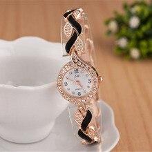 Luxury Rhinestone Bracelet Watch Ladies Rose Gold Watches Quartz Female Clock 2017 Relojes Mujer Golden Steel Wristwatch Women