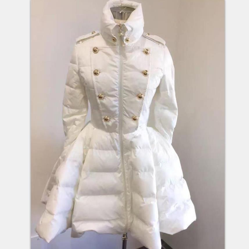New Women   Down   Jackets Warm Long   Coat   Swing Ladies Outwear Double-breasted Padded   Coat