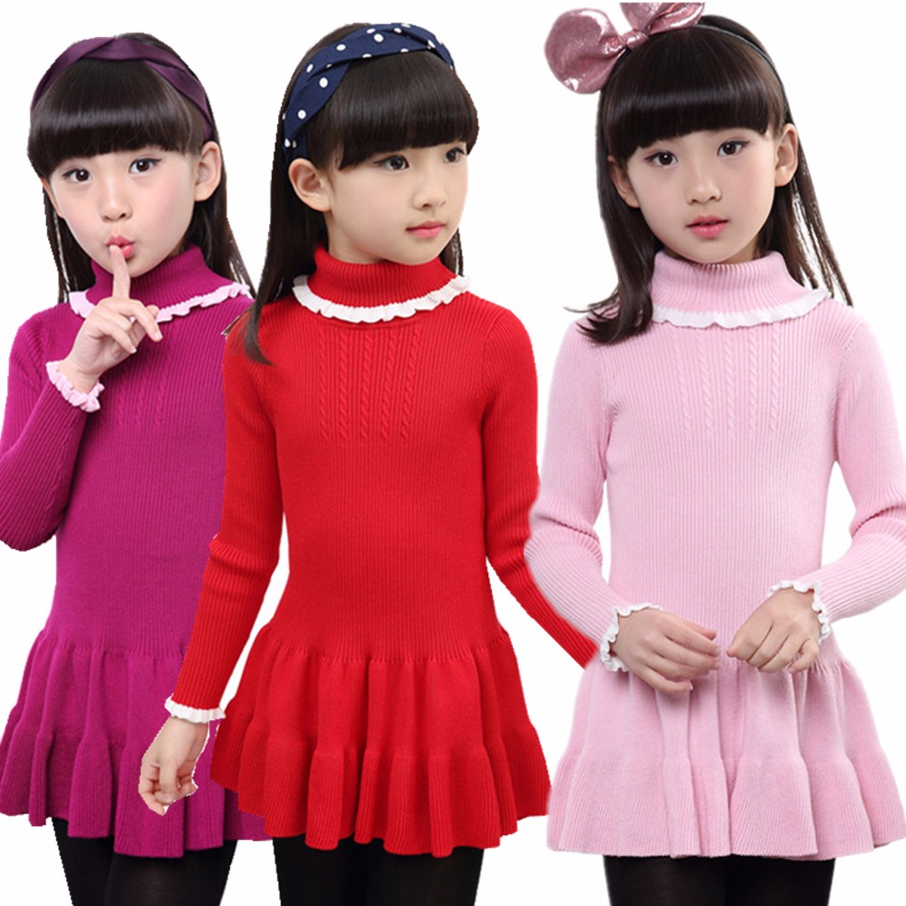 Girls Knit Sweater Dress Pink Turtlenecks Toddler Infant Pleated Dresses Long Sleeves Kids A-line Mini Dress Children's Clothing cable knit a line sweater dress