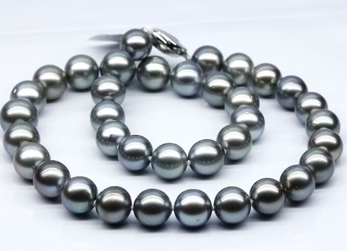women good Superb 11-12mm Natural Tahitian genuine black peacock round pearl necklace ...