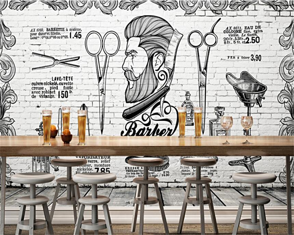Beibehang High Grade Interior Decoration Wallpaper Background Wall Paper Of The Barber Shop In Europe America Europe And England