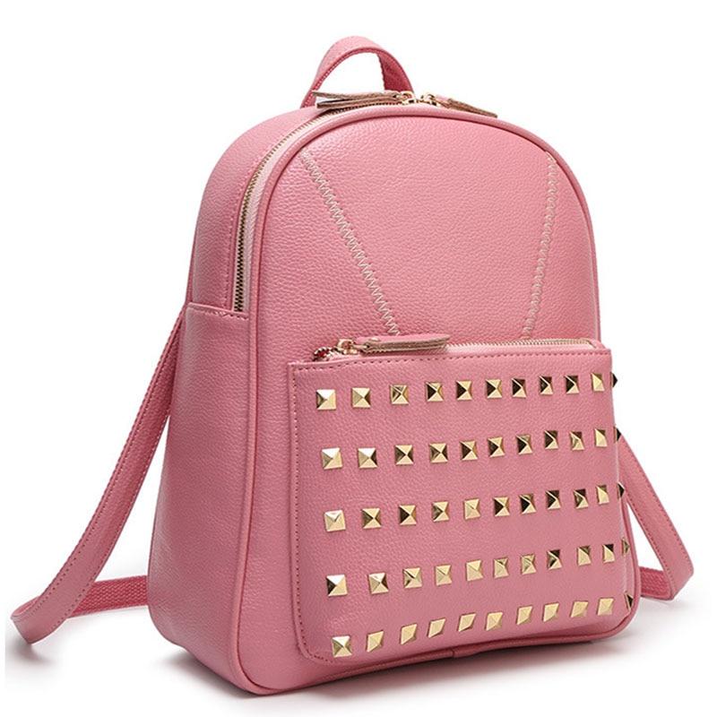 Vente chaude! Sac à dos de luxe pour femmes Rivet sac à dos en cuir Pu de haute qualité sacs pour femmes marque Double sac à bandoulière cartable nouveau