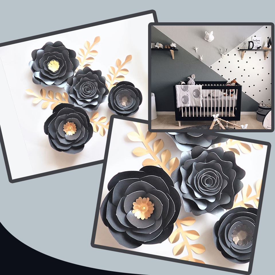 Us 14 28 47 Off Black Gold Rose Diy Paper Flowers Leaves Set For Nursery Wall Deco Boys Room Living Room Decoration Baby Shower Video Tutorials In
