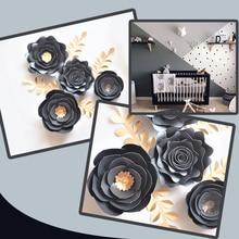 Black Gold Rose DIY ดอกไม้กระดาษใบชุดสำหรับเนอสเซอรี่ Wall Deco Boys ห้องนั่งเล่นตกแต่งเด็กทารกวิดีโอ tutorials