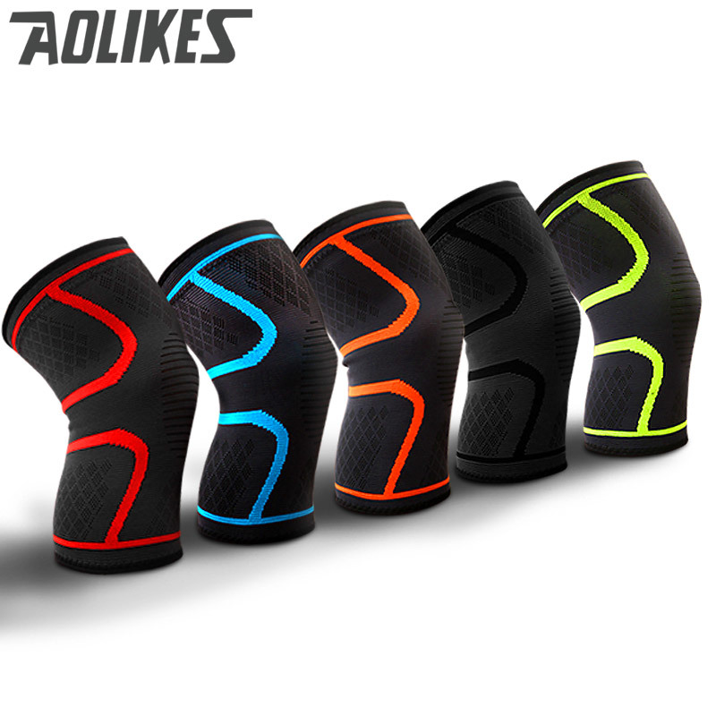 1pair Fitness Knee Support Braces for Running Cycling Basketball Volleyball Elastic Nylon Sport Compression Knee Pad Sleeve
