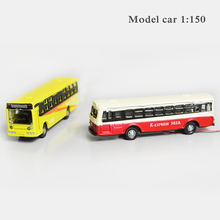 Teraysun 10pcs/lot Scale Model Light Cars 1:150 Alloy Model Bus Model Toy Layout Scale Light Bus Model with LED