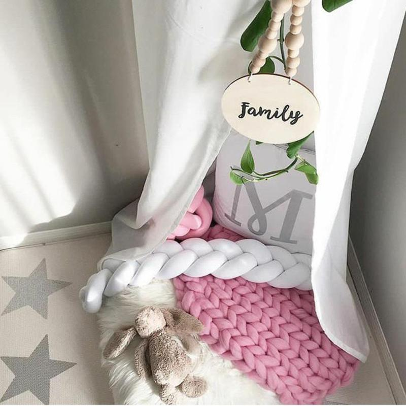 Baby Bed Bumper Soft Newborn Crib Protector Pure Color Weaving Knot for Infant Room Decor Cot Bumper Newborn Photograpgy Props