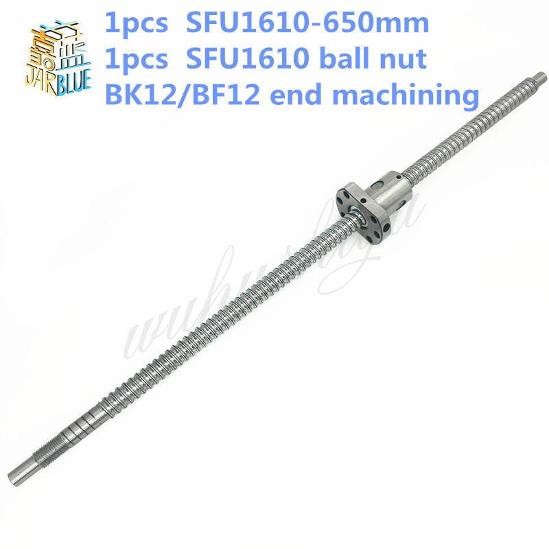 16mm 1610 Ball Screw Rolled C7 ballscrew SFU1610 650mm with one 1610 flange single ball nut for CNC parts 16mm 1605 ball screw rolled c7 ballscrew sfu1605 950mm with one 1500 flange single ball nut for cnc parts
