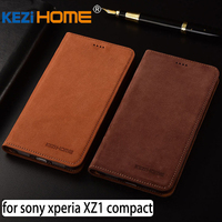 for Sony Xperia XZ1 Compact case Flip matte genuine leather soft TPU back cover for Sony Xperia XZ1 Compact coque