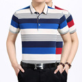 2016 new design men summer fashion multi color striped short sleeve cotton polos shirt