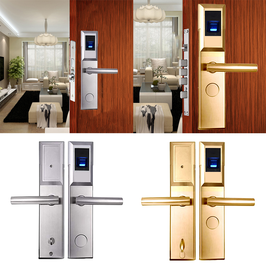 Electronic Locks Fingerprint Biometric RFID Door Lock +3pcs RFID Cards+2 Keys, Right Handed top designed 1pcs t handle vending machine locks snack vending machine lock tubular locks with 3pcs keys