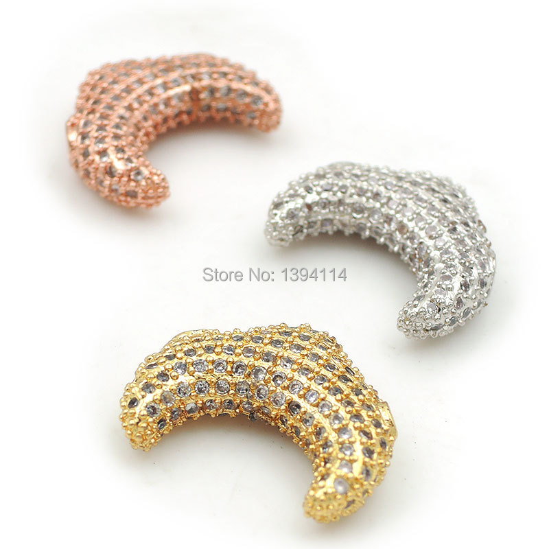 16*12*5mm Micro Pave Clear CZ Crescent Beads Fit For Making DIY Bracelets Or Necklaces Jewelry