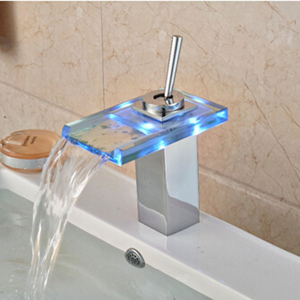 LED Glass Chrome Waterfall Bathroom Basin Faucet Deck Mounted Sink Mixer Tap Hot & Cold Mixer Tap deck mounted curved spout waterfall basin mixer faucet tap double handle chrome led light bathroom mixer crane