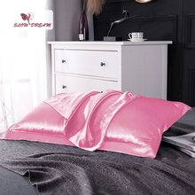 SlowDream Luxury Pink 100% Nature Mulberry Silk Pillowcase Wholesale 19 Color Silky Pillow Case For Women Men Free Shipping