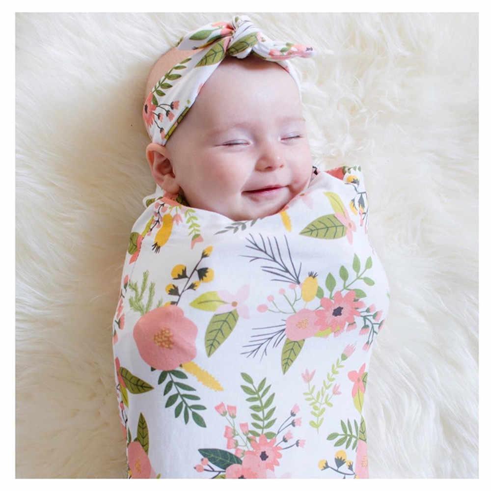 Recién Nacido bebé Swaddle manta Sleeping Swaddle muselina Wrap diadema Set disfraz para niñas niños bebé Infantil Wrap ropa