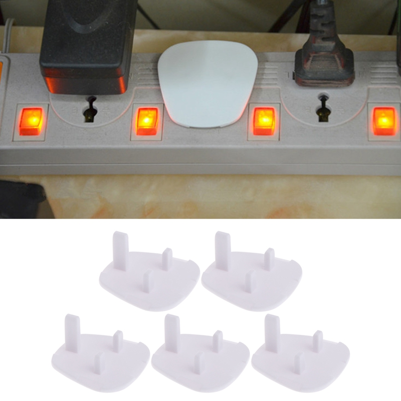 5Pcs UK Power Socket Outlet Mains Plug Cover Baby Child Safety Protector Guard White