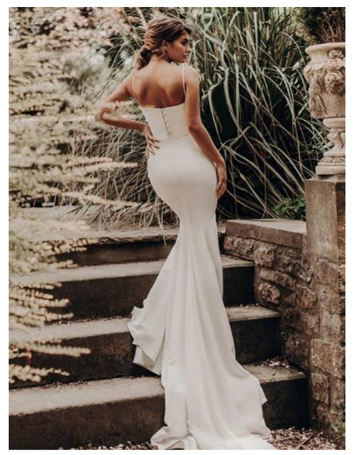 LORIE Spandex Beach Wedding Dress 2019 Elegant Spaghetti Straps White Ivory Mermaid/Trumpet Bride Dress Train Wedding Gowns 3