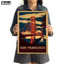 SAN FRANCISCO Vintage Travel Painting City poster Abstract paper print picture Living Room Cafe Decor 42x30cm GGB093(China)