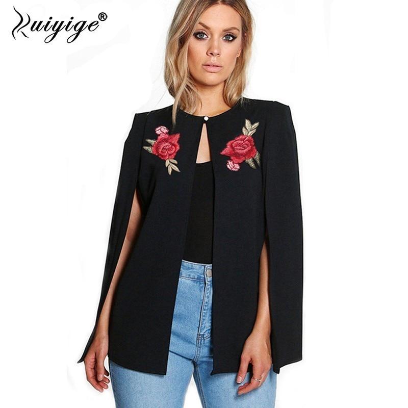 Ruiyige Women 2018 Autumn New Fashion Long Sleeves Flowers Embroidery Button Open Stich Shawl Cloak   Jacket     Basic   Coat Streetwear
