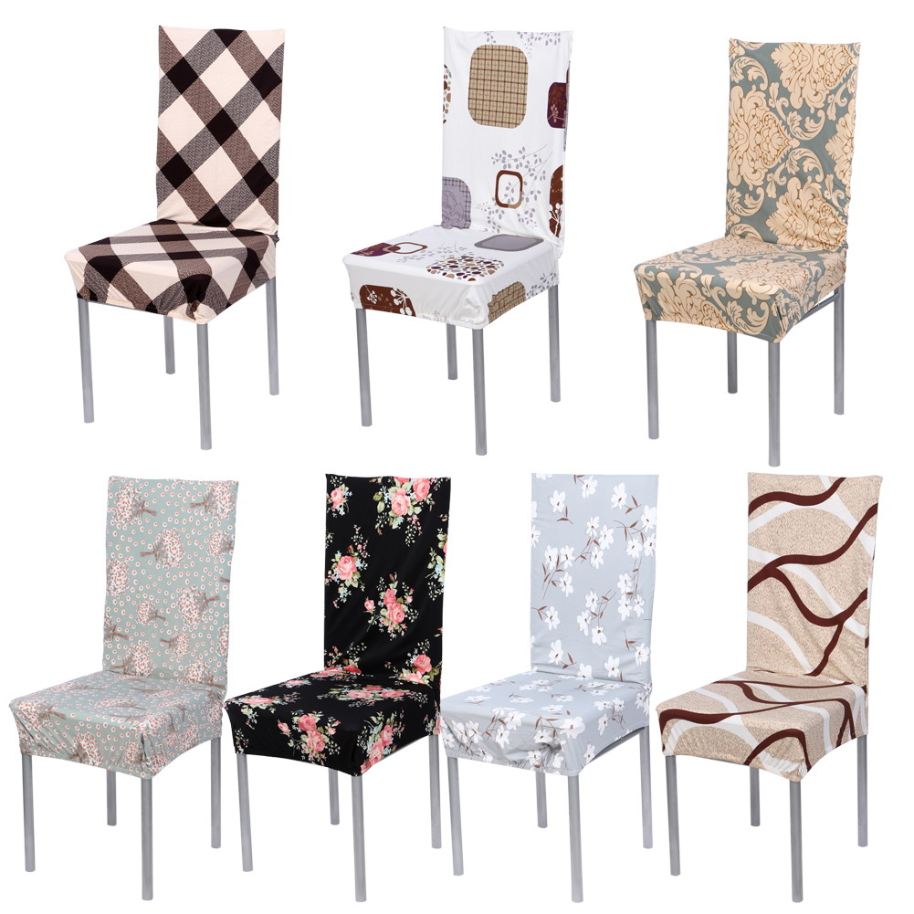 7 Color Vintage Chair Cover Stretch Elastic Cloth Chair Covers Removable Chair Covers Banquet Dining Party Chair Seat Covers