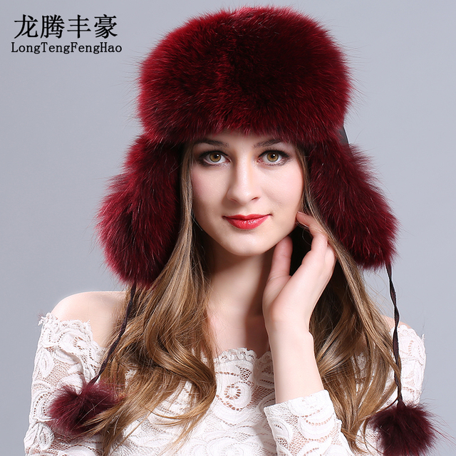 Fur Hat Guarantee 100% Natural Genuine fur caps Bomber Hats with fur balls  Ear protection against the cold Fox Fur Cap Knitted 42aa1f5369f