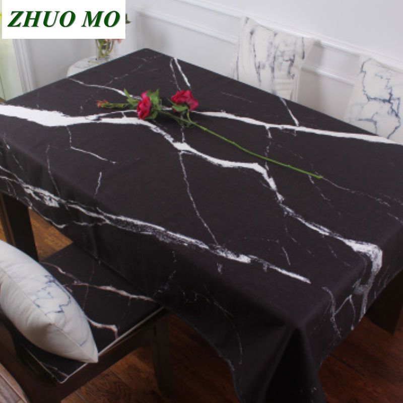 Luxury waterproof anti hot oil table cloth Marble pattern tablecloth pattern checked linen cotton Rectangular Round table cloth