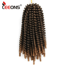 Leeons Spring Twist Hair Extension Ombre Braiding Synthetic Extnesions Nubian Curl Crochet Braids 8 Inch