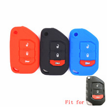 WFMJ Silicone 3 Buttons Remote Smart Key Protect Holder Chain Cover Fob for 2018 2019 2020 Wrangler JL Gladiator JT JLU