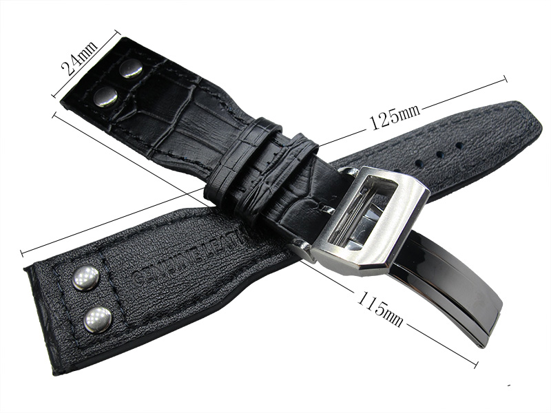 ФОТО  24mm Parnis New Black Leather Watch Band Watches Strap with Deployment Buckle for Mechanical Wristwatches