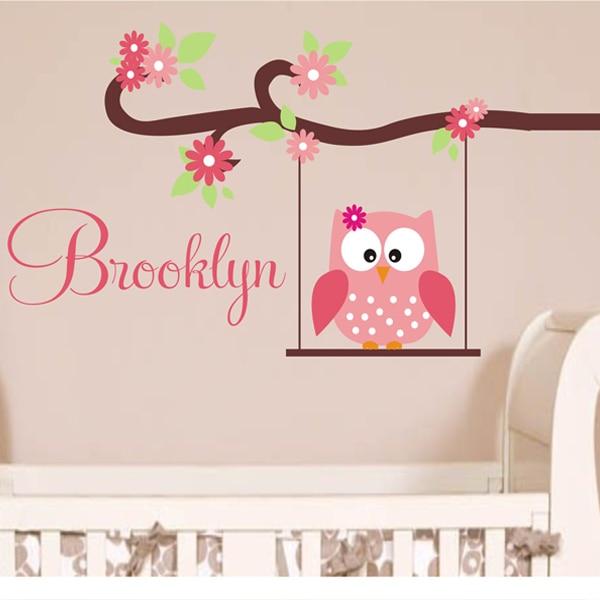 Cute Owl Monogram Custom Name Childrens Nursery Wall Decals Vinyl Lettering Art Great For