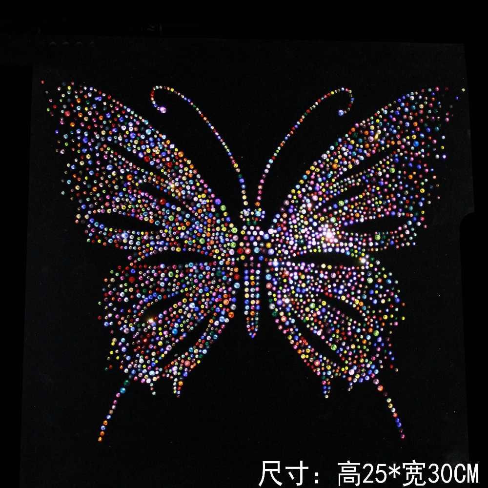 Colorful Butterfly Design Hotfix Rhinestone Heat Transfer Iron Sewing Rhinestone  Motif Embellishment For garment Shoes Sweater ed37cc6c2247