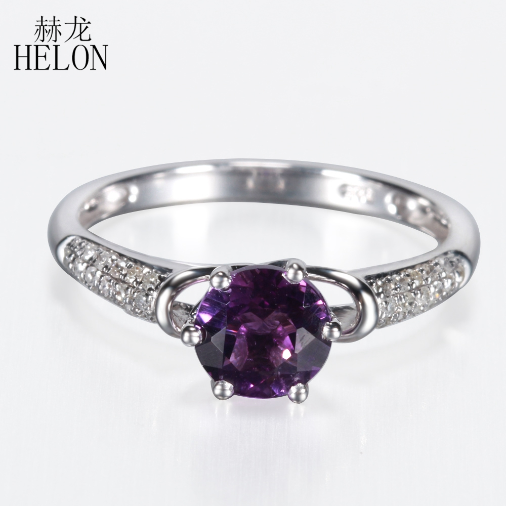 HELON 6.5mm Round 1.16ct Amethyst Gemstone Jewelry Ring Solid 14K Solid White Gold Pave Natural Diamond Engagement Wedding Ring new free shipping 11 68ct 15mm round purple amethyst 14k gold natural diamond engagement ring