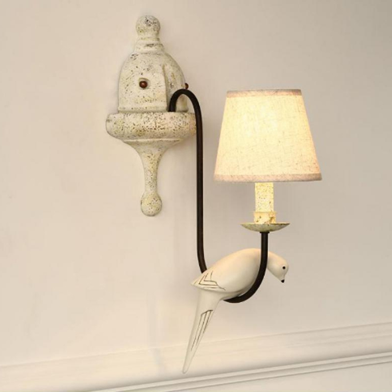Novelty Wall Lamp Corridor Bedside Lamps Aisle Lights Living Room Wall Sconces Bathroom Pastoral White Bird Lighting Sconce led