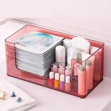 Transparent Cosmetic Storage Box Plastic Simple Desktop Household Mask Finishing Box Skin Care Acrylic Shelf цена 2017