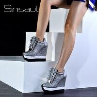 Sinsaut/Женская обувь, увеличивающая рост, женские осенне зимние туфли лодочки на высоком каблуке, трендовые кроссовки уникального дизайна кар
