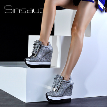 Sinsaut Shoes Women Height Increase Autumn Winter Pumps High Heels Trending Caramel Unique Design Sneakers