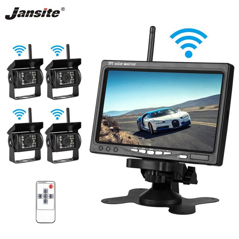 """Jansite 7 """"TFT 液晶ワイヤレス車のバックミラーモニターディスプレイ支援カメラ Paking システムと 4 リアカメラ用バス  グループ上の 自動車 &バイク からの 車 モニター の中 1"""