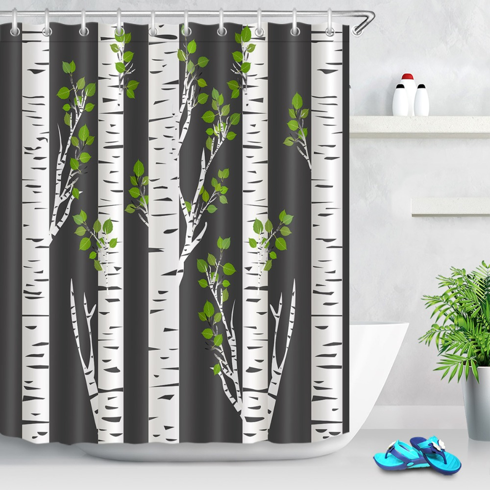 lb abstract green birch trunks in night ideal black and white shower curtain funny waterproof bathroom fabric for bathtub decor