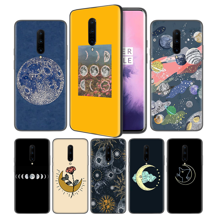 Floral Phases of the Moon Soft Black Silicone Case Cover for font b OnePlus b font