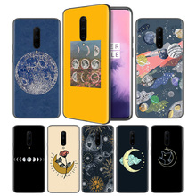 Floral Phases of the Moon Soft Black Silicone Case Cover for OnePlus 6 6T 7 Pro 5G Ultra-thin TPU Phone Back Protective