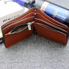 Vintage Crazy horse Genuine Leather Wallet Men Purse Leather Men Wallet Short style Clutch Bag Male Coin bag Money Clips Chain