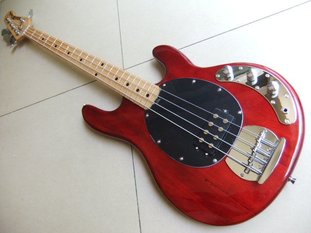 New Musicman Bass 4 Strings Erime Ball StingRay Electric Guitar In Cherry Red Burst Free Shipping 110528