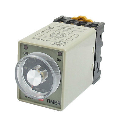 DC 24V 0-10 Minutes 10 Min Delay Timer Time Relay w 8 Pin DIN Rail Base 3 pcs din rail mounting plastic relay socket base holder for 8 pin relay pyf08a