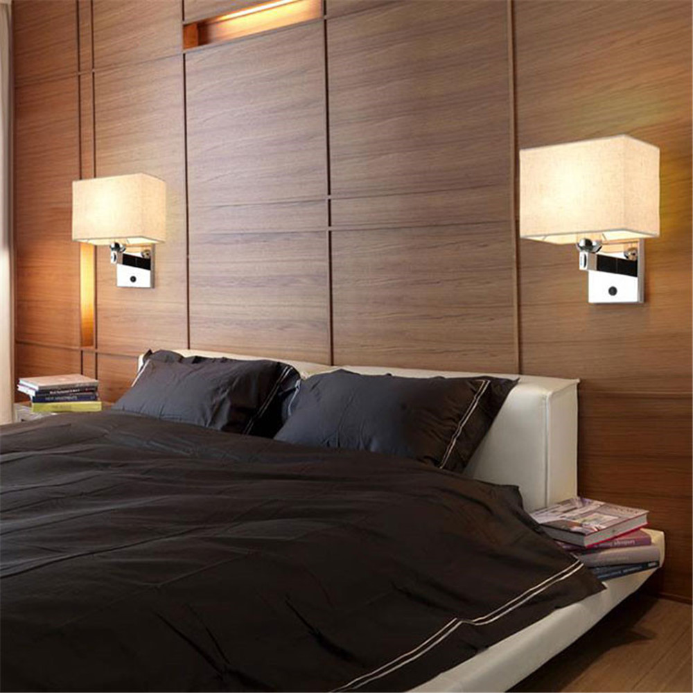 Bedroom Bedside Led Reading Wall Lamp Modern Hotel Room Project Light With Switch New Chinese Style Beige Fabric Lampshade In Indoor Lamps