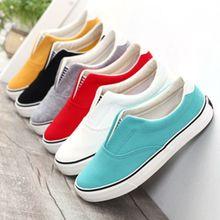 2017 del caramelo del color sólido boca baja zapatos de lona unisex de los hombres amantes de la moda zapatos casuales pedal zapatos antideslizantes para el tamaño 35-44